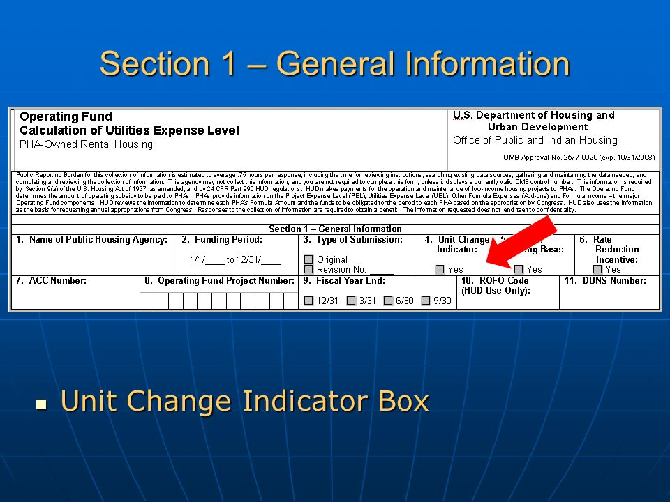 Section 1 – General Information Unit Change Indicator Box Unit Change Indicator Box
