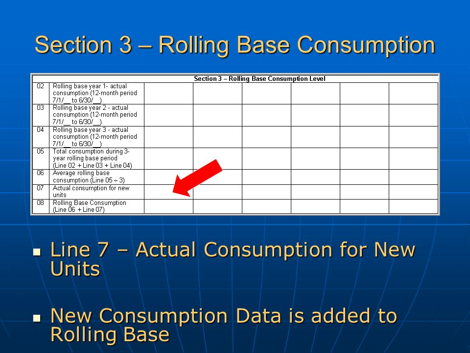 Section 3 – Rolling Base Consumption Line 7 – Actual Consumption for New Units Line 7 – Actual Consumption for New Units New Consumption Data is added to Rolling Base New Consumption Data is added to Rolling Base
