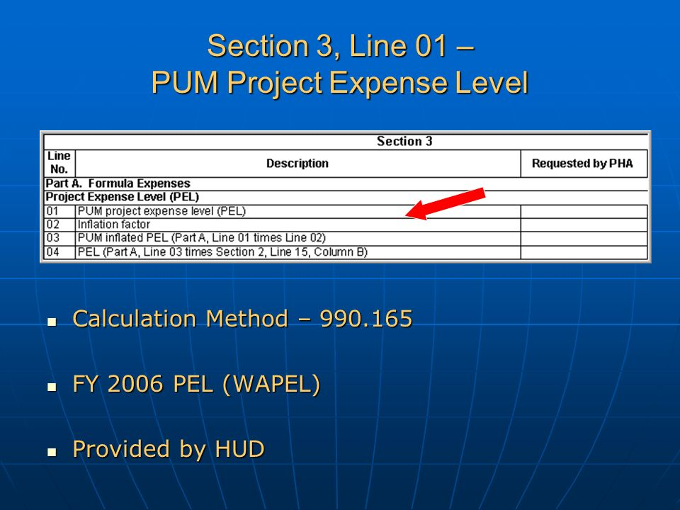 Section 3, Line 01 – PUM Project Expense Level Calculation Method – 990.165 Calculation Method – 990.165 FY 2006 PEL (WAPEL) FY 2006 PEL (WAPEL) Provided by HUD Provided by HUD