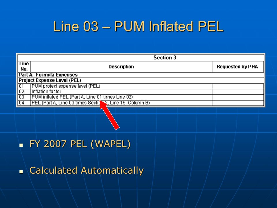 Line 03 – PUM Inflated PEL FY 2007 PEL (WAPEL) FY 2007 PEL (WAPEL) Calculated Automatically Calculated Automatically