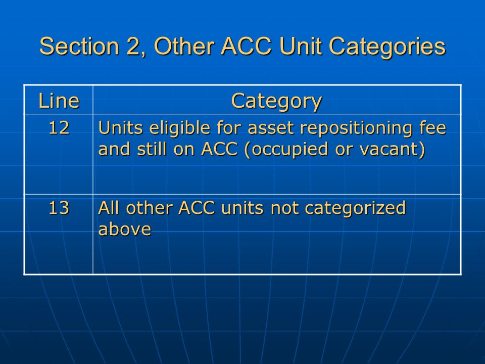 Section 2, Other ACC Unit Categories LineCategory 12 Units eligible for asset repositioning fee and still on ACC (occupied or vacant) 13 All other ACC units not categorized above
