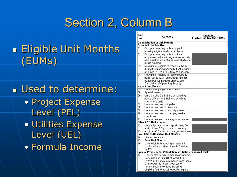 Section 2, Column B Eligible Unit Months (EUMs) Eligible Unit Months (EUMs) Used to determine: Used to determine: Project Expense Level (PEL)Project Expense Level (PEL) Utilities Expense Level (UEL)Utilities Expense Level (UEL) Formula IncomeFormula Income