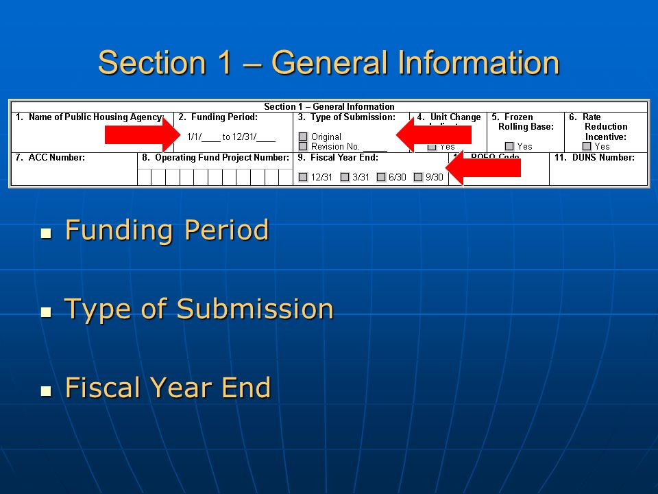 Section 1 – General Information Funding Period Funding Period Type of Submission Type of Submission Fiscal Year End Fiscal Year End
