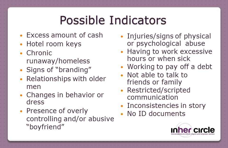 Possible Indicators Excess amount of cash Hotel room keys Chronic runaway/homeless Signs of branding Relationships with older men Changes in behavior or dress Presence of overly controlling and/or abusive boyfriend Injuries/signs of physical or psychological abuse Having to work excessive hours or when sick Working to pay off a debt Not able to talk to friends or family Restricted/scripted communication Inconsistencies in story No ID documents