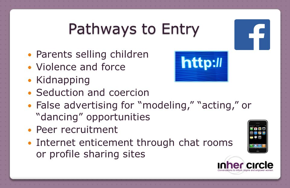 Pathways to Entry Parents selling children Violence and force Kidnapping Seduction and coercion False advertising for modeling, acting, or dancing opportunities Peer recruitment Internet enticement through chat rooms or profile sharing sites