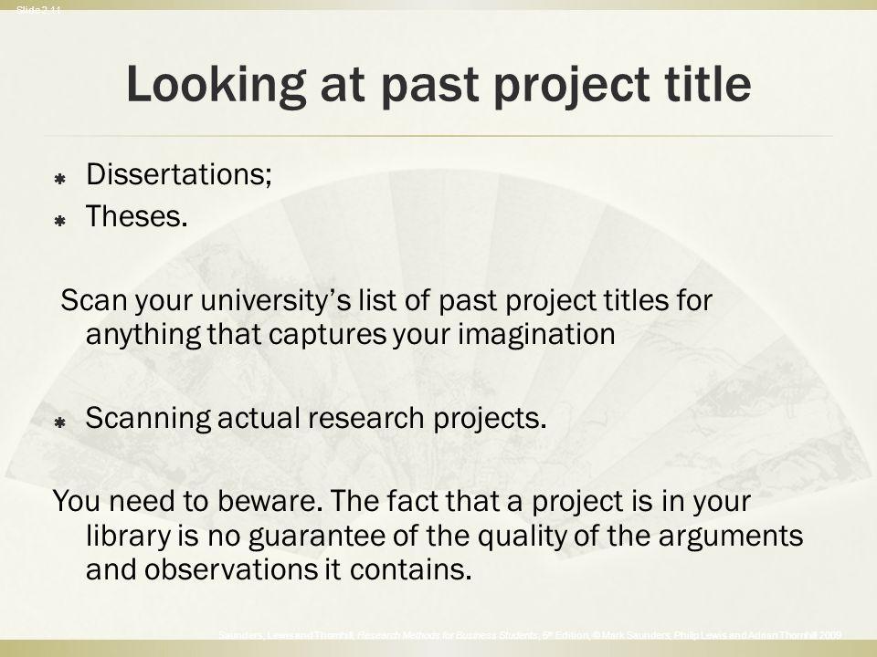 Past Dissertations