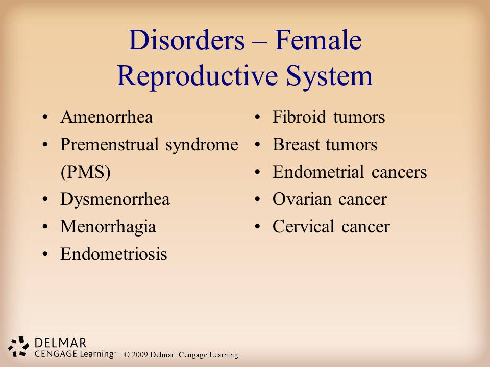 © 2009 Delmar, Cengage Learning Disorders – Female Reproductive System Amenorrhea Premenstrual syndrome (PMS) Dysmenorrhea Menorrhagia Endometriosis Fibroid tumors Breast tumors Endometrial cancers Ovarian cancer Cervical cancer
