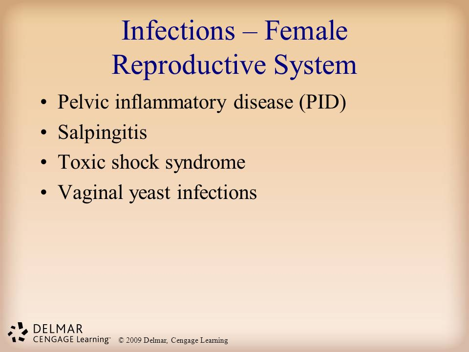 © 2009 Delmar, Cengage Learning Infections – Female Reproductive System Pelvic inflammatory disease (PID) Salpingitis Toxic shock syndrome Vaginal yea