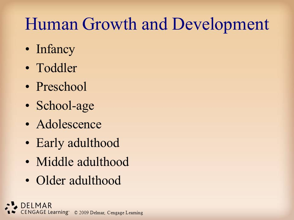 © 2009 Delmar, Cengage Learning Human Growth and Development Infancy Toddler Preschool School-age Adolescence Early adulthood Middle adulthood Older a