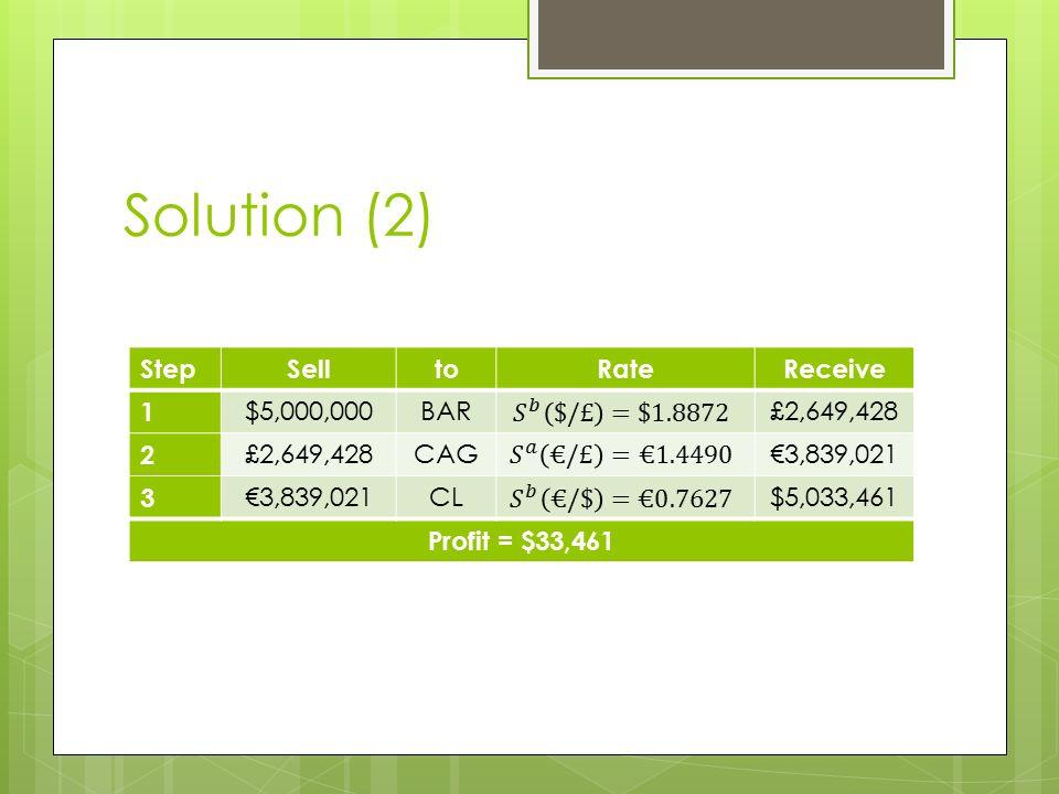 Solution (2) StepSelltoRateReceive 1 $5,000,000BAR£2,649,428 2 CAG€3,839,021 3 CL$5,033,461 Profit = $33,461
