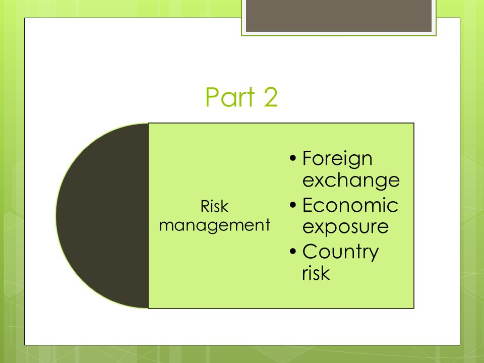 Part 2 Risk management Foreign exchange Economic exposure Country risk