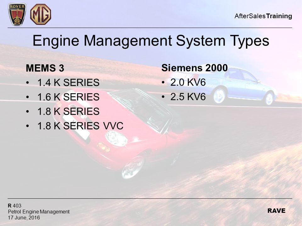 Aftersalestraining R 403 Petrol Engine Management 17 June 2016