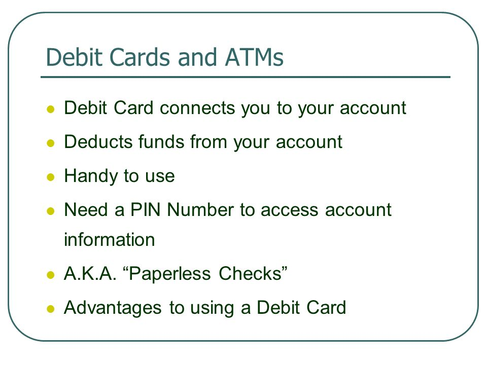 14 Debit Cards And Atms Card