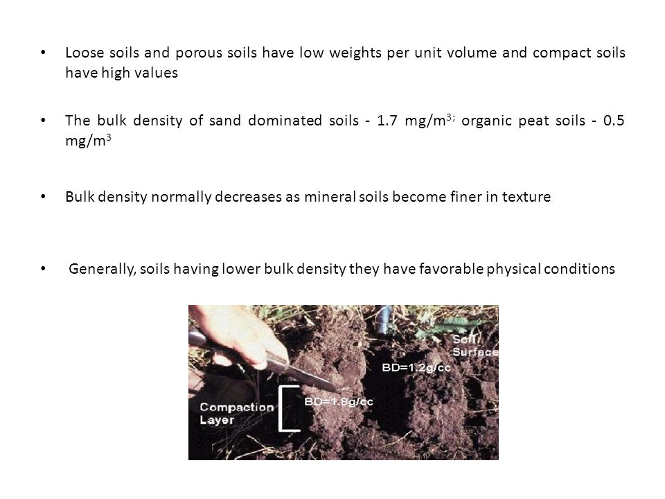 Loose soils and porous soils have low weights per unit volume and compact soils have high values The bulk density of sand dominated soils - 1.7 mg/m 3; organic peat soils - 0.5 mg/m 3 Bulk density normally decreases as mineral soils become finer in texture Generally, soils having lower bulk density they have favorable physical conditions