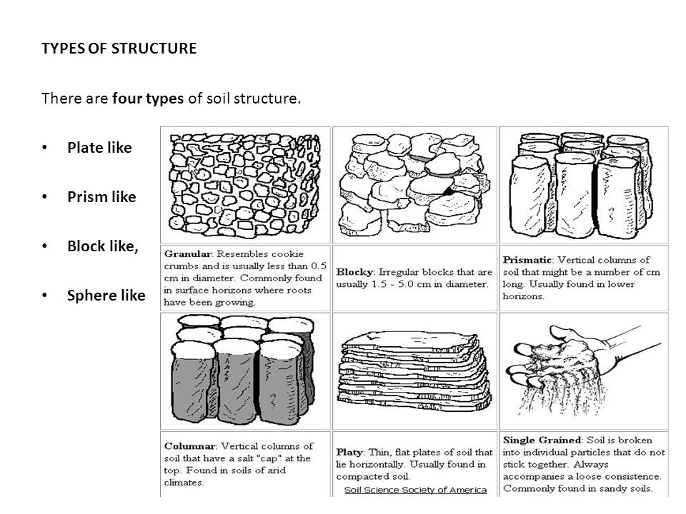 TYPES OF STRUCTURE There are four types of soil structure.