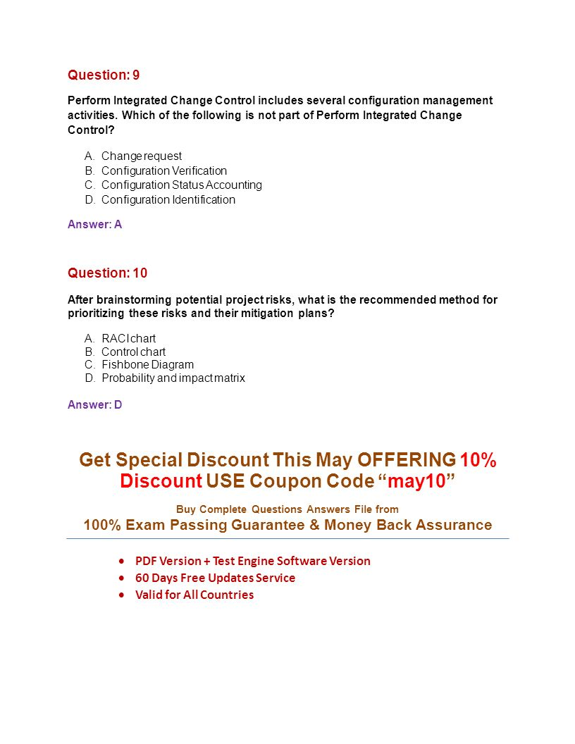 Pmp project management professional pass pmp exam with 100 question 9 perform integrated change control includes several configuration management activities fandeluxe Choice Image