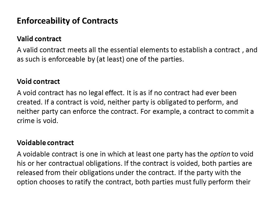 Enforceability Of Contracts Valid Contract A Valid Contract Meets All The Essential  Elements To Establish A