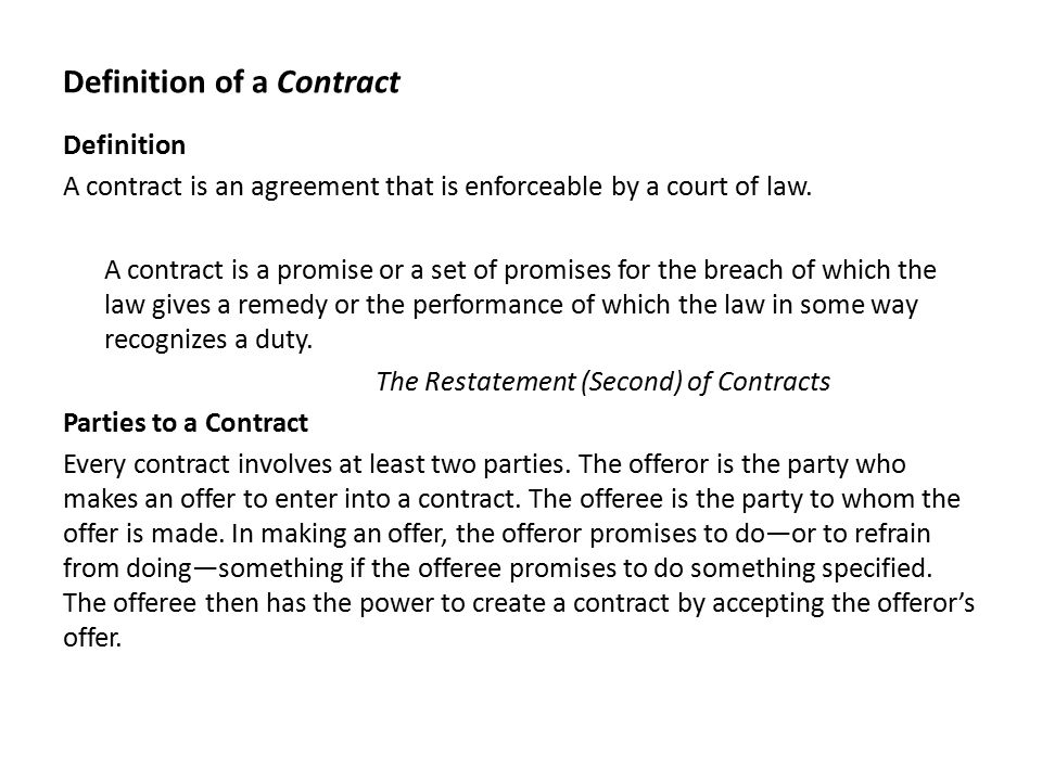Chapter  Contracts Definition Of A Contract Definition A