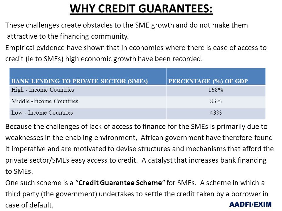 WHY CREDIT GUARANTEES: These challenges create obstacles to the SME growth and do not make them attractive to the financing community.