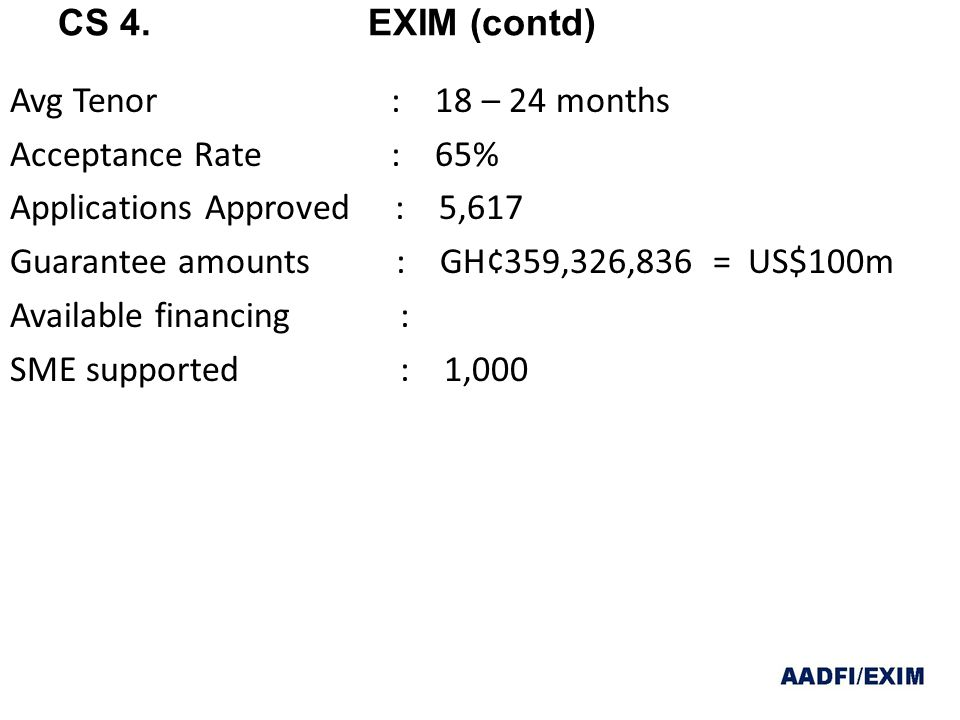 Avg Tenor : 18 – 24 months Acceptance Rate : 65% Applications Approved : 5,617 Guarantee amounts : GH¢359,326,836 = US$100m Available financing : SME supported : 1,000 CS 4.