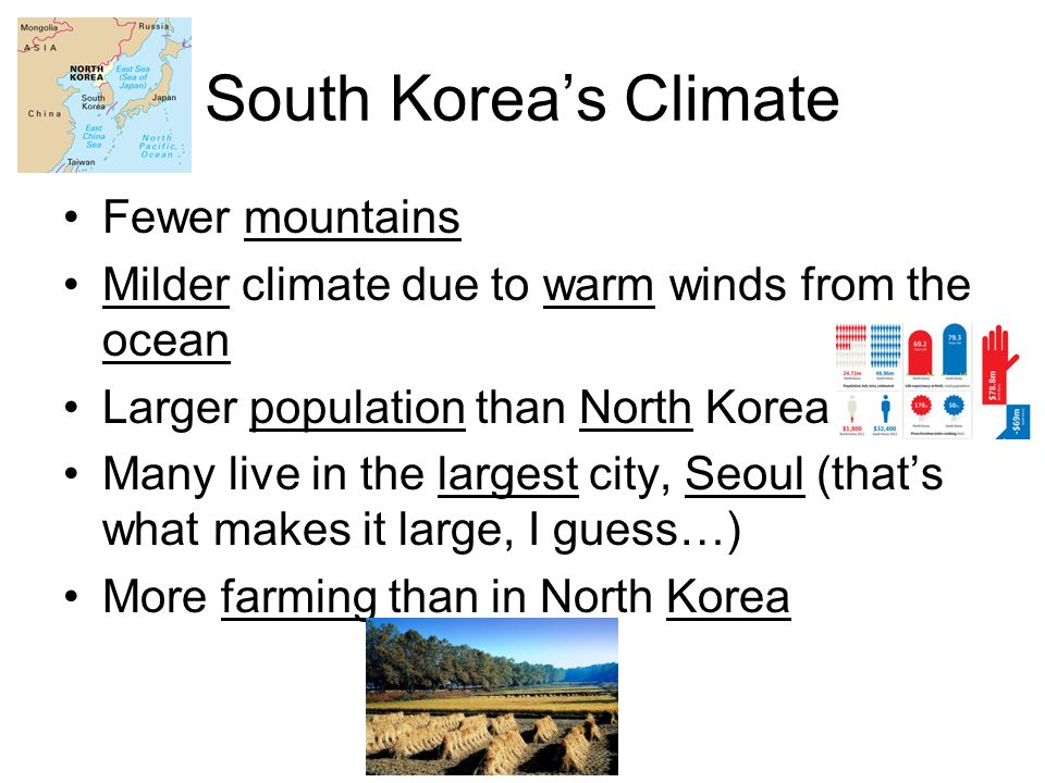 South Korea's Climate Fewer mountains Milder climate due to warm winds from the ocean Larger population than North Korea Many live in the largest city, Seoul (that's what makes it large, I guess…) More farming than in North Korea