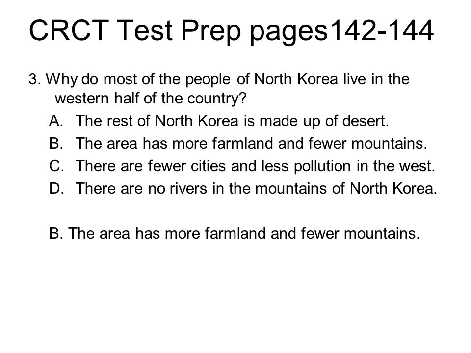 CRCT Test Prep pages142-144 3.