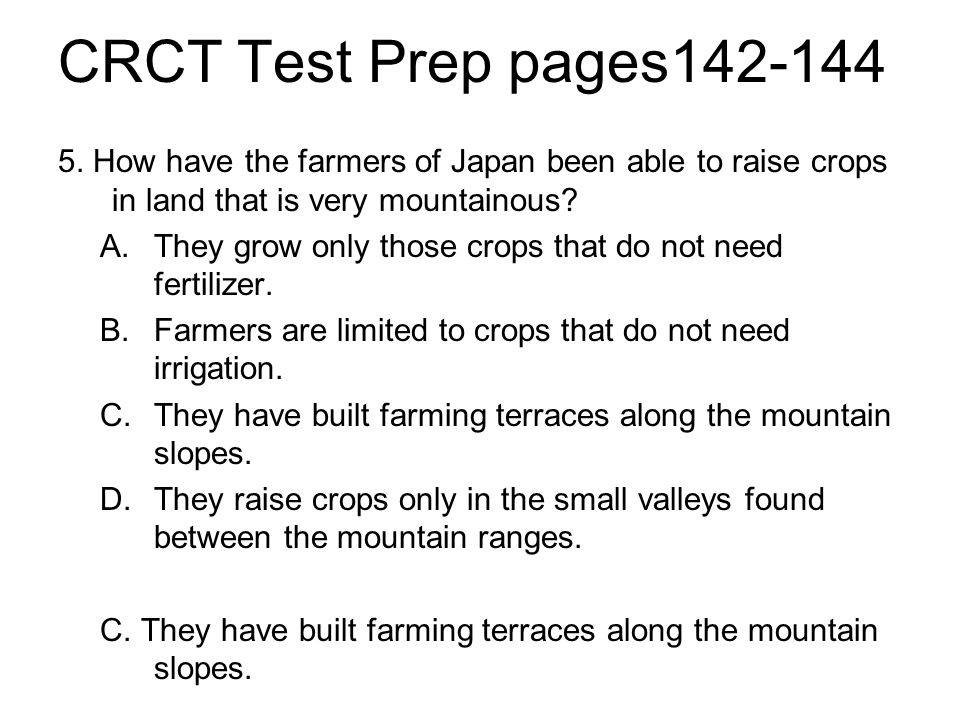 CRCT Test Prep pages142-144 5.