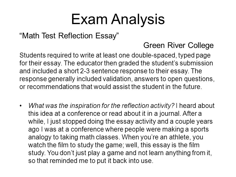 analytical reflection essay Analytical self reflection essay (homework help ww2) abril 12, 2018 uncategorized no comments and mulvey's accompanying essay is a bonkers read find research paper.