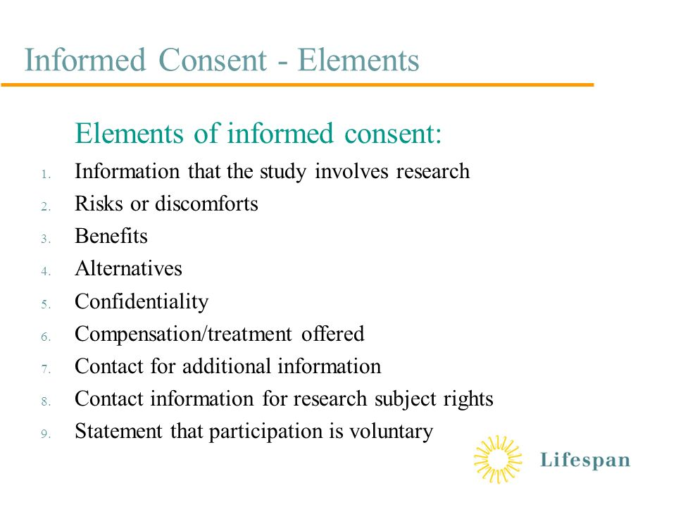 Informed consent its a process not a form outline historical informed consent elements elements of informed consent 1 altavistaventures Image collections