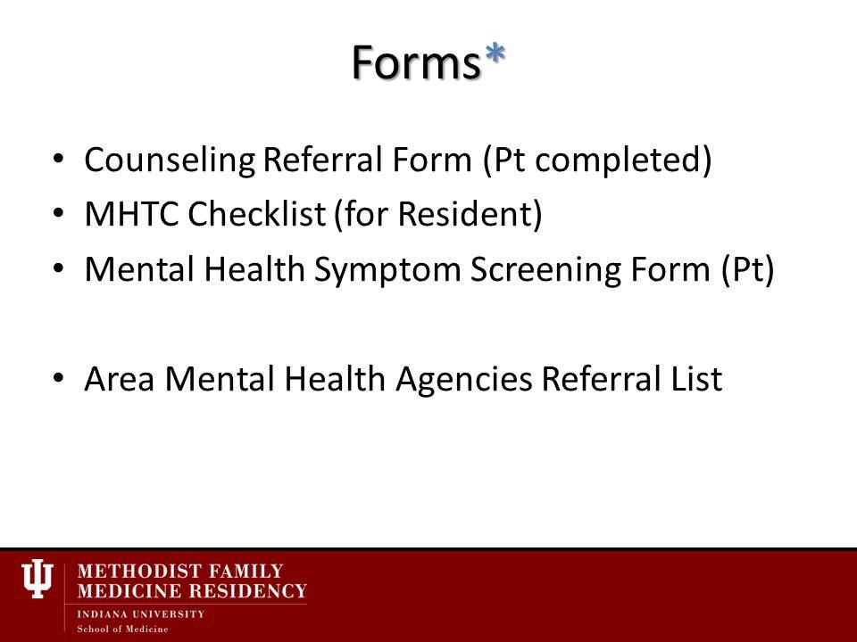 mental health symptoms checklist