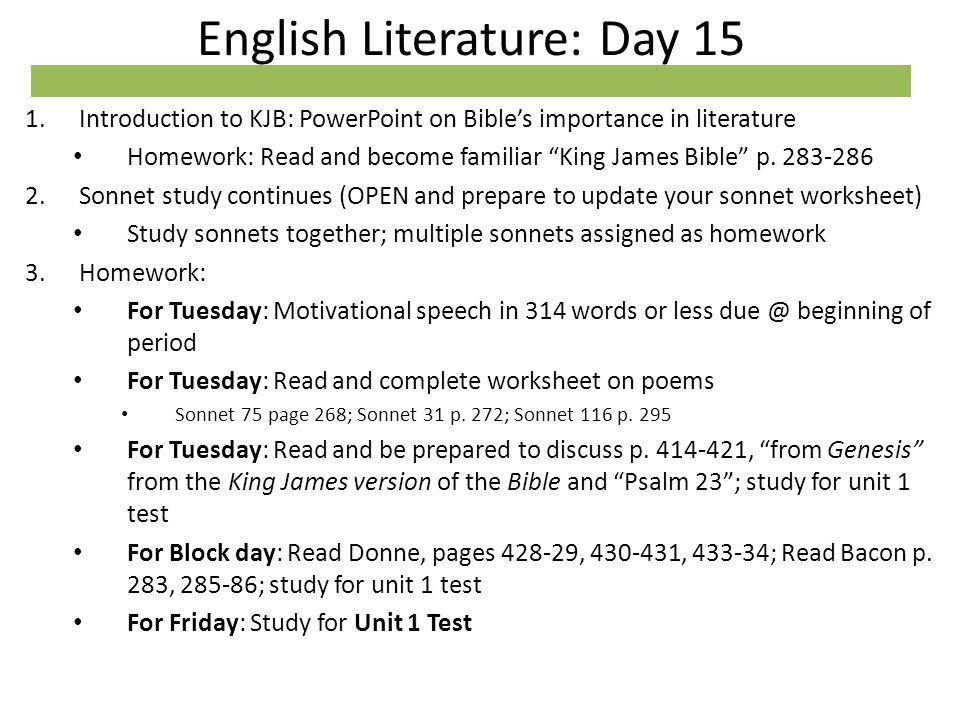 English Literature: Day 15 1.Introduction to KJB: PowerPoint on ...