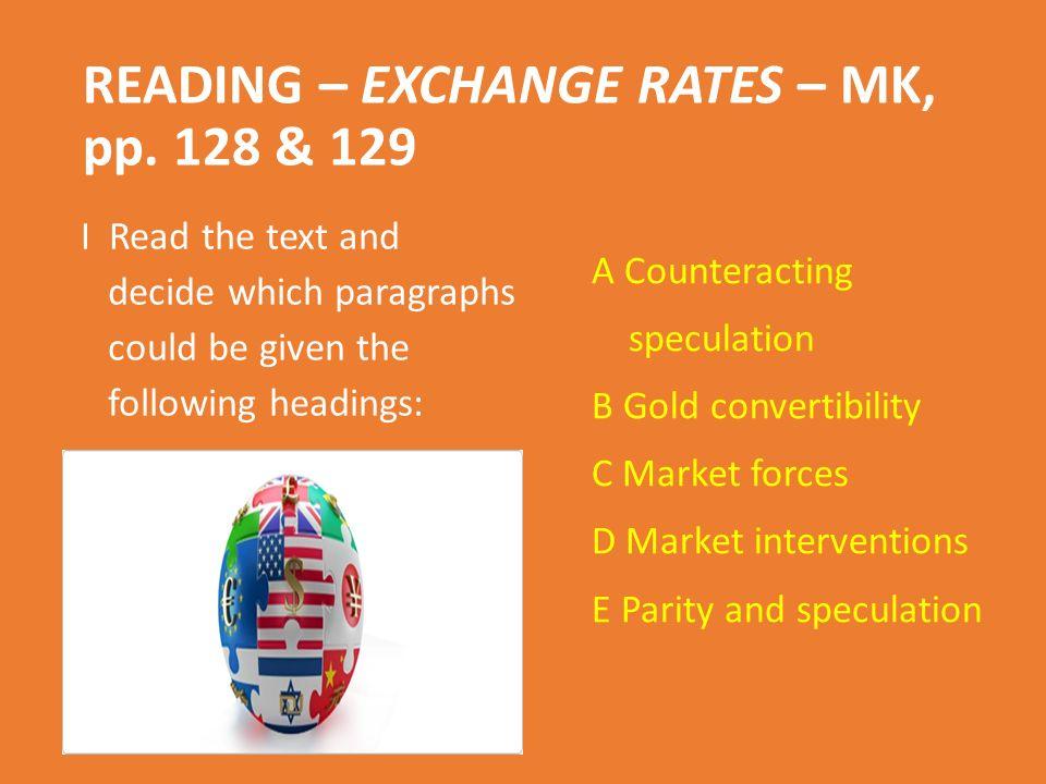 READING – EXCHANGE RATES – MK, pp.