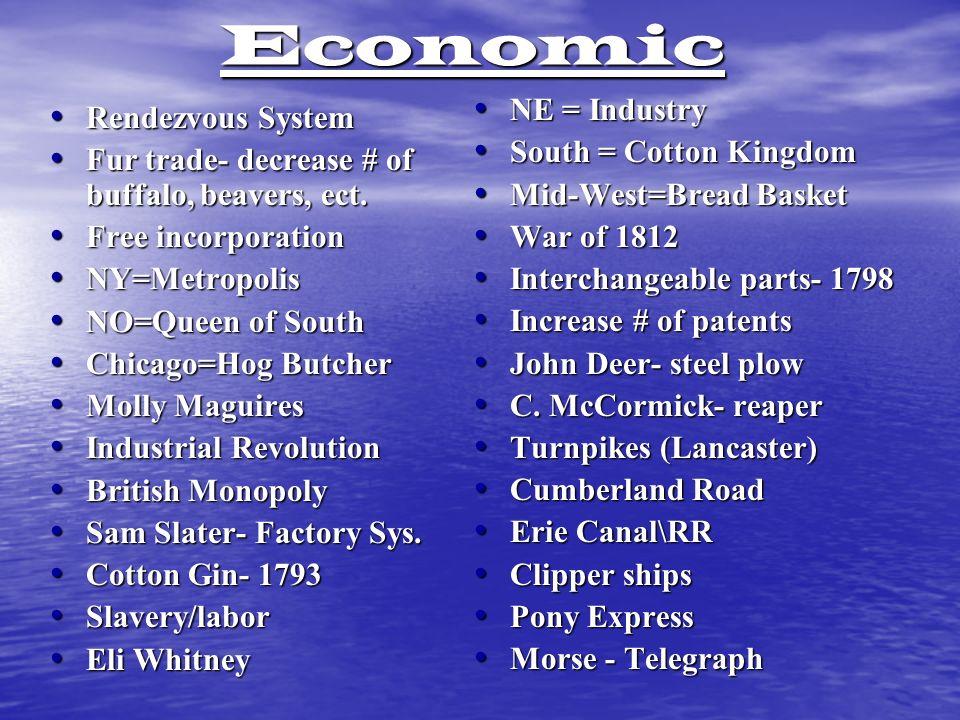 Economic Rendezvous System Rendezvous System Fur trade- decrease # of buffalo, beavers, ect.
