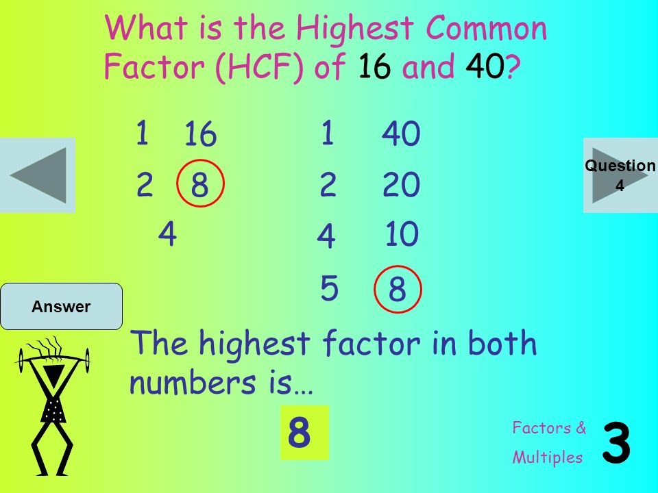 Greatest common factor No. 20 to 40