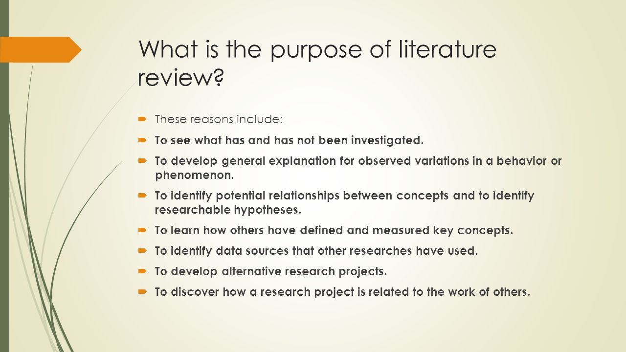 what is the purpose of literary research paper What is a review of the literature a literature review is an account of what has in writing the literature review, your purpose is to convey to your reader.