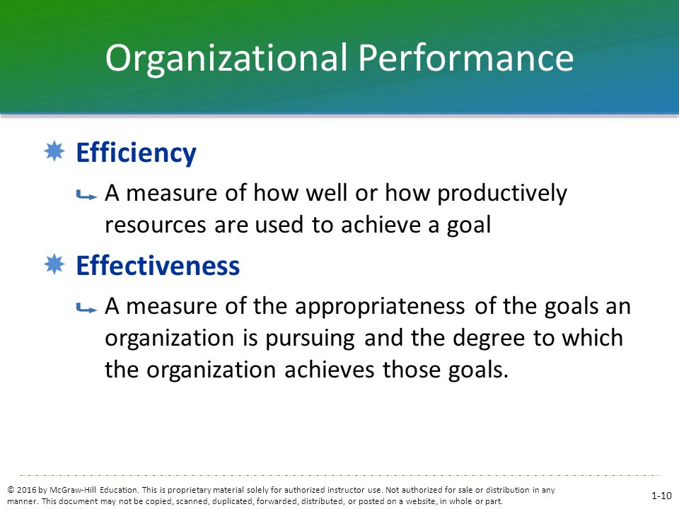 Organizational Performance  Efficiency A measure of how well or how productively resources are used to achieve a goal  Effectiveness A measure of th