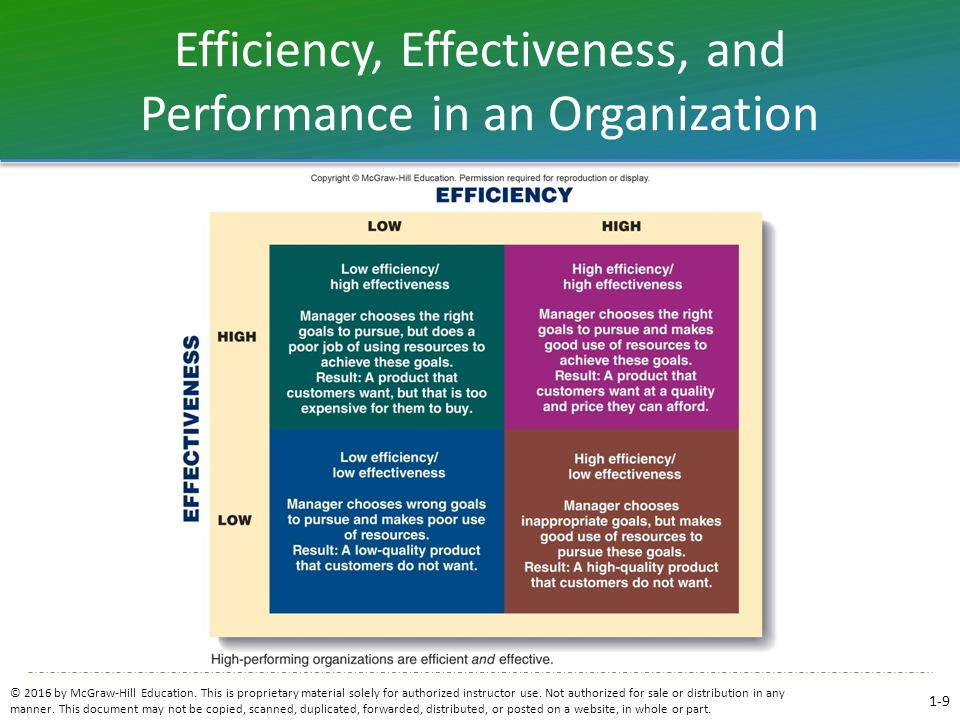 Efficiency, Effectiveness, and Performance in an Organization © 2016 by McGraw-Hill Education. This is proprietary material solely for authorized inst