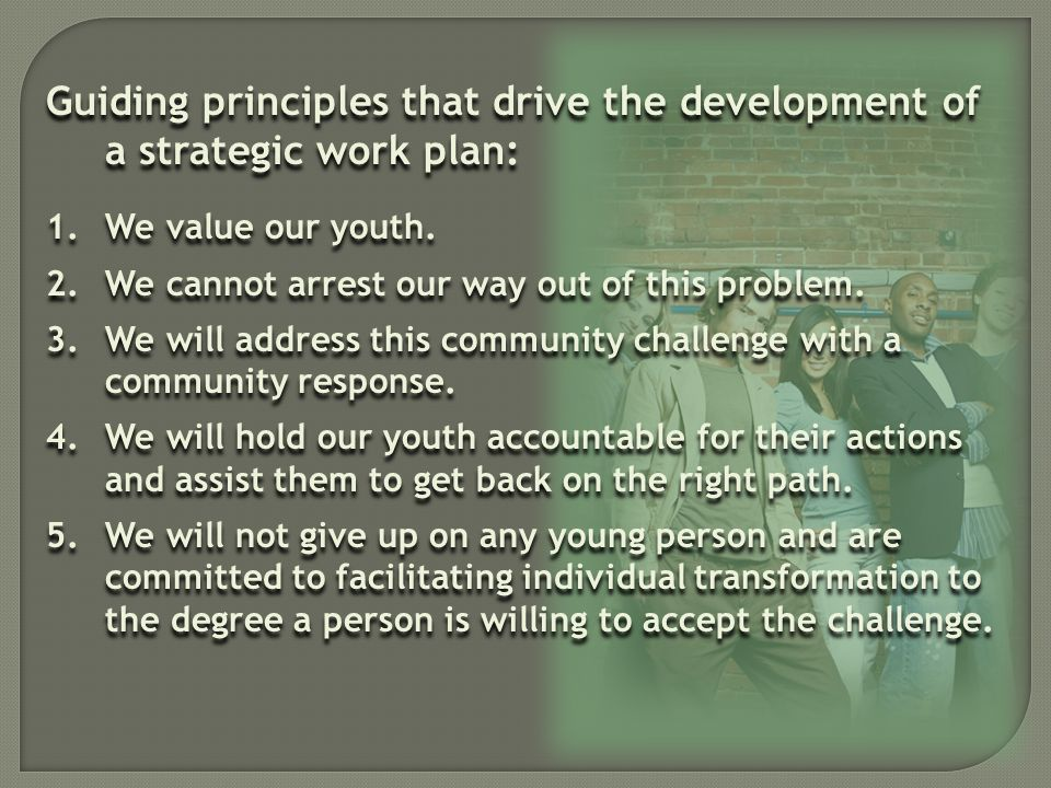 Guiding principles that drive the development of a strategic work plan: 1.We value our youth.