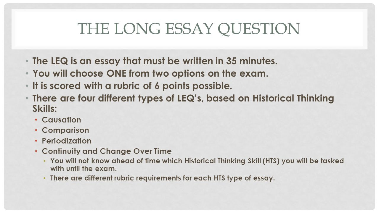 essay question rubric Write a five-paragraph essay on the question below using the rubric as a guide.