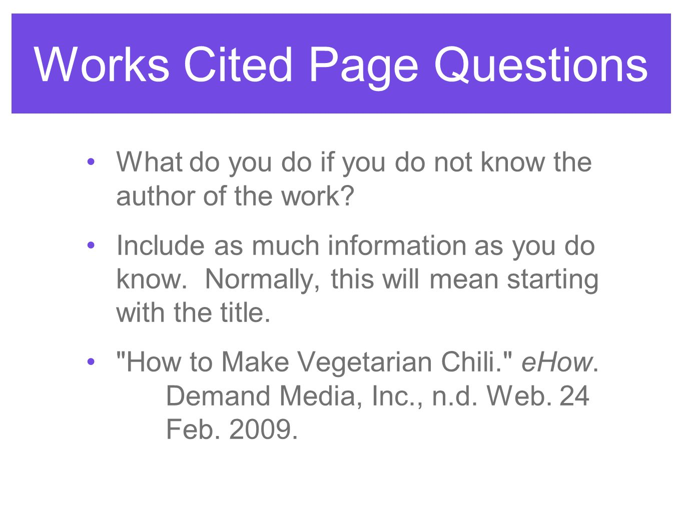works cited page website format