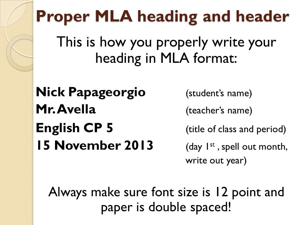 heading for essays mla format Mla suggestions for title creation and formatting help writers develop headings that improve rather than distract from their material choosing headings mla style does not require specific section headings.