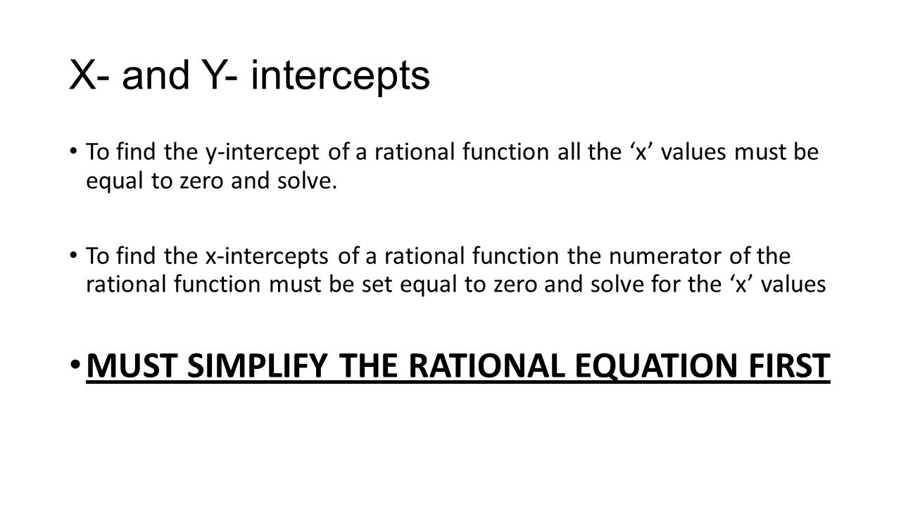 X And Y Intercepts To Find The Yintercept Of A Rational Function