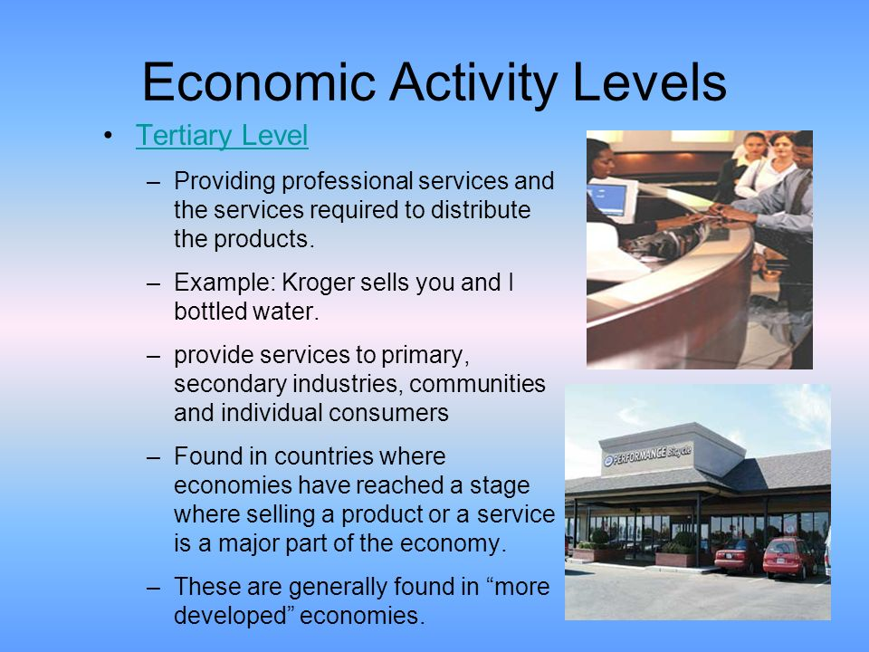 Economic Activity Levels Bellwork Write Three Economic Activities