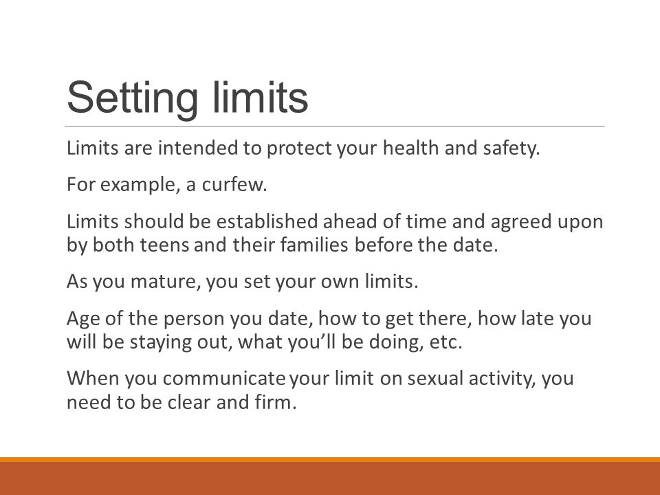 dating setting limits