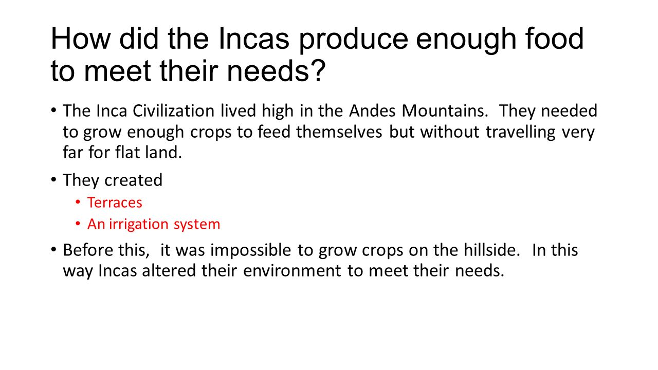 How did the Incas produce enough food to meet their needs.