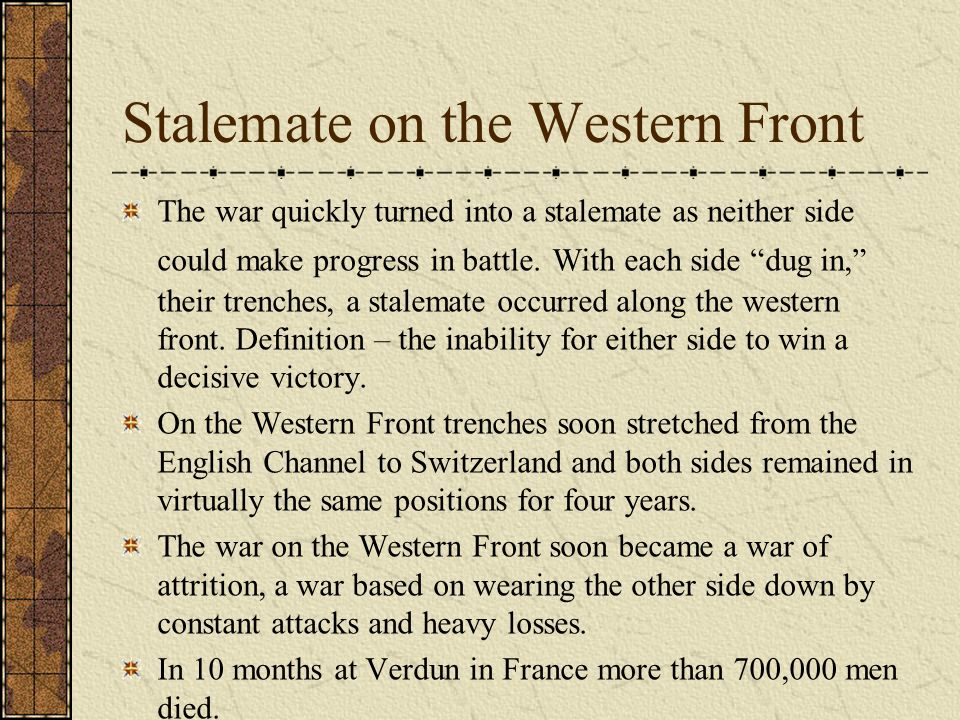 stalemate on the western front