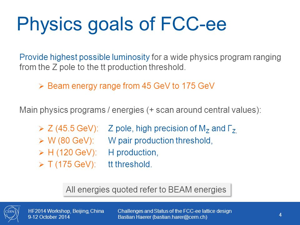 HF2014 Workshop, Beijing, China 9-12 October 2014 Challenges and Status of the FCC-ee lattice design Bastian Haerer Physics goals of FCC-ee Provide highest possible luminosity for a wide physics program ranging from the Z pole to the tt production threshold.