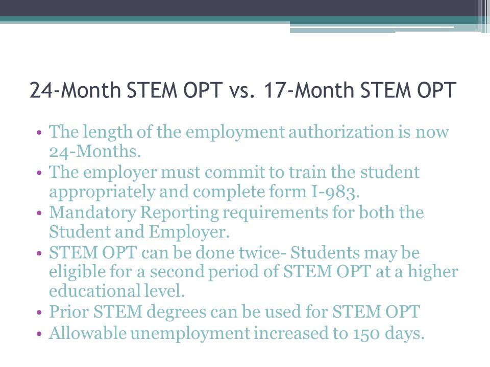 24-Month STEM OPT Extension Webinar Presented by: Mayra Serna ...