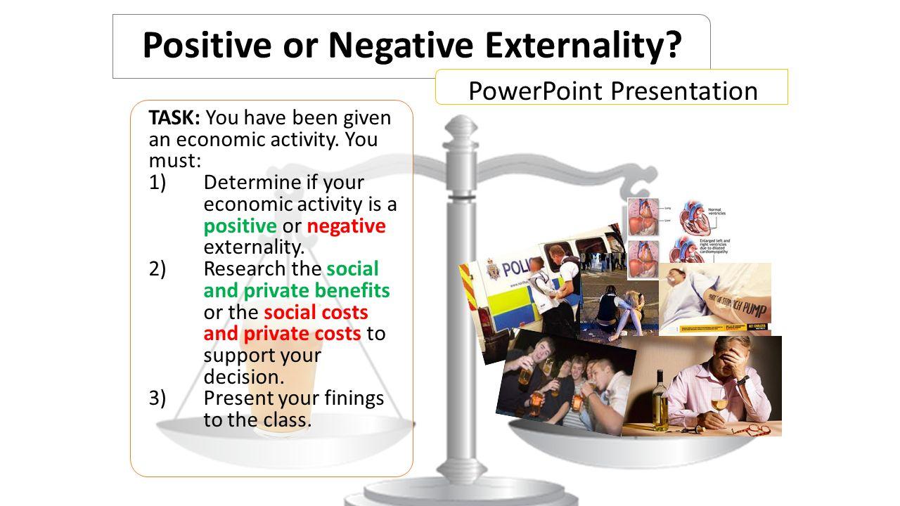 Positive or Negative Externality.