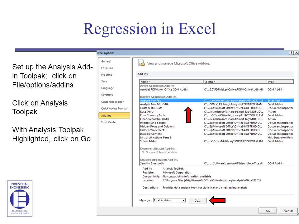 Nonlinear regression excel addin